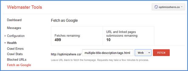 Google Webmaster Tools | Fetch as Google