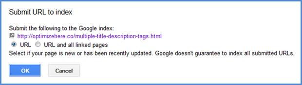 Submit URL to index