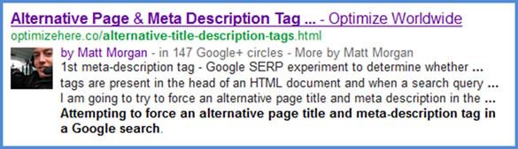 Alternative Google Search Result