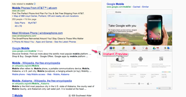 google webmaster tools instant preview
