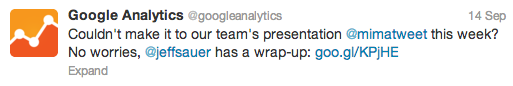 Google Analytics Tweet