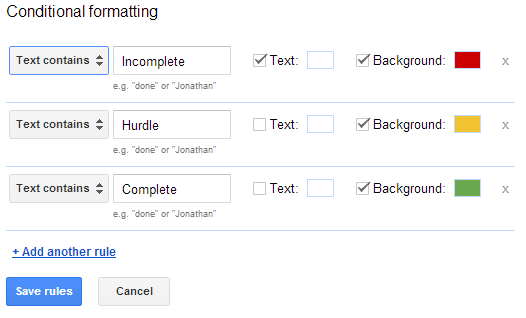 Google Docs Conditional Formatting with Data Validation