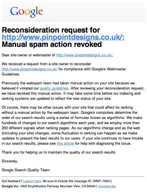 Google Manual Spam Action Revoked