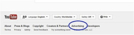 Screenshot showing footer link to YouTube Advertising