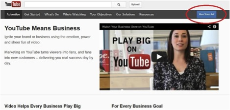Screenshot of YoutTube Advertising Home Page