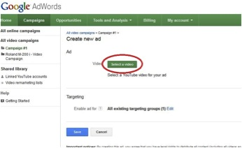 Screenshot of select a YouTube video screen in Google Adwords