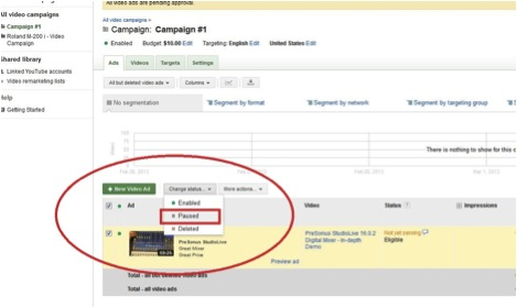 Screenshot showing how to pause an Adwords Video display ad campaign