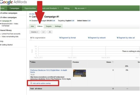 Screenshot showing Add Call to Action Hyperlink in Adwords Dashboard