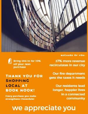 Exemplo de panfleto para agradecer aos clientes por comprarem localmente