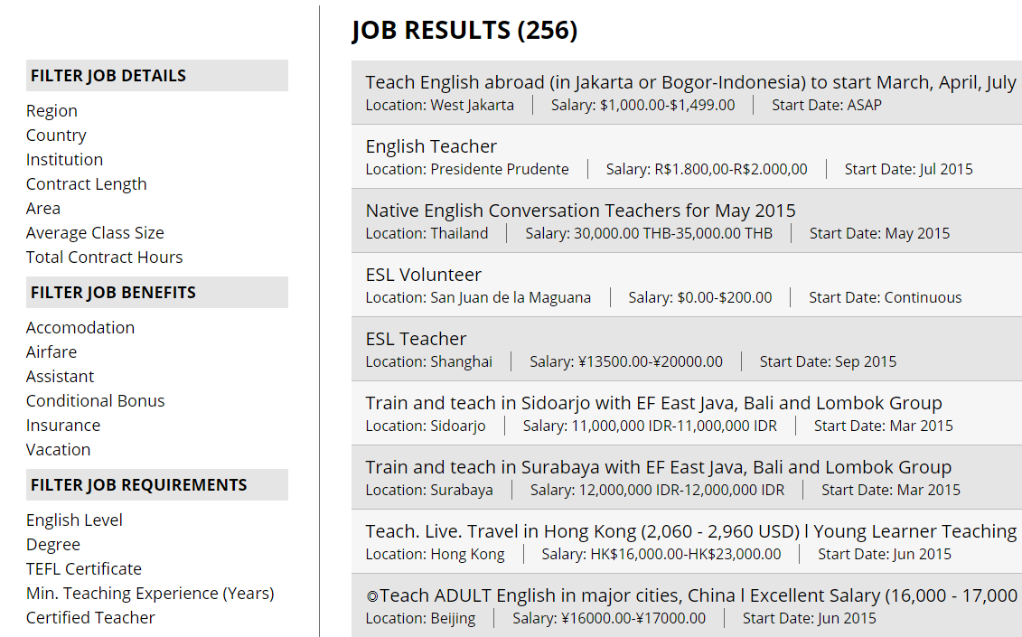 job page on teflsearch