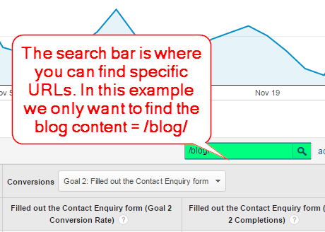 Search bar for Landing Pages Report
