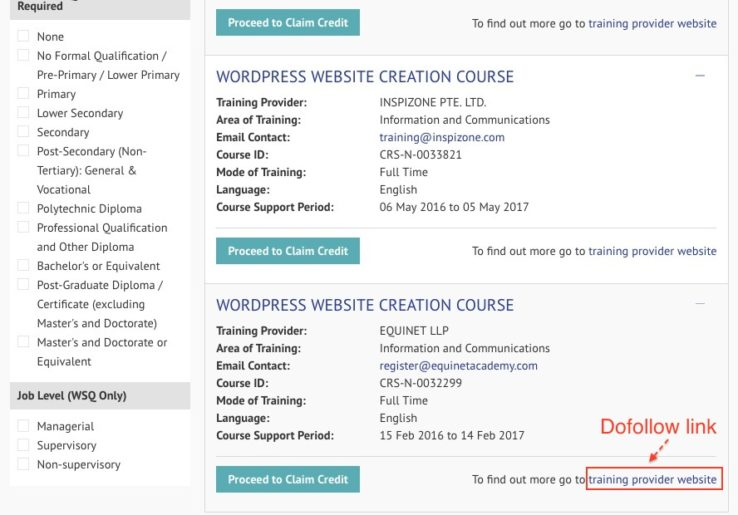 Directory link to WordPress course example