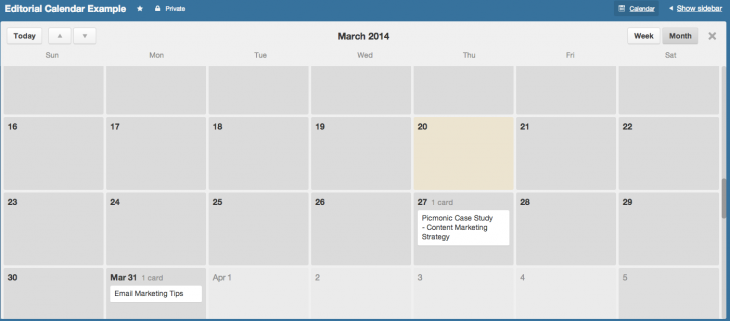 Trello calendar view for managing the big picture of your content marketing plan.