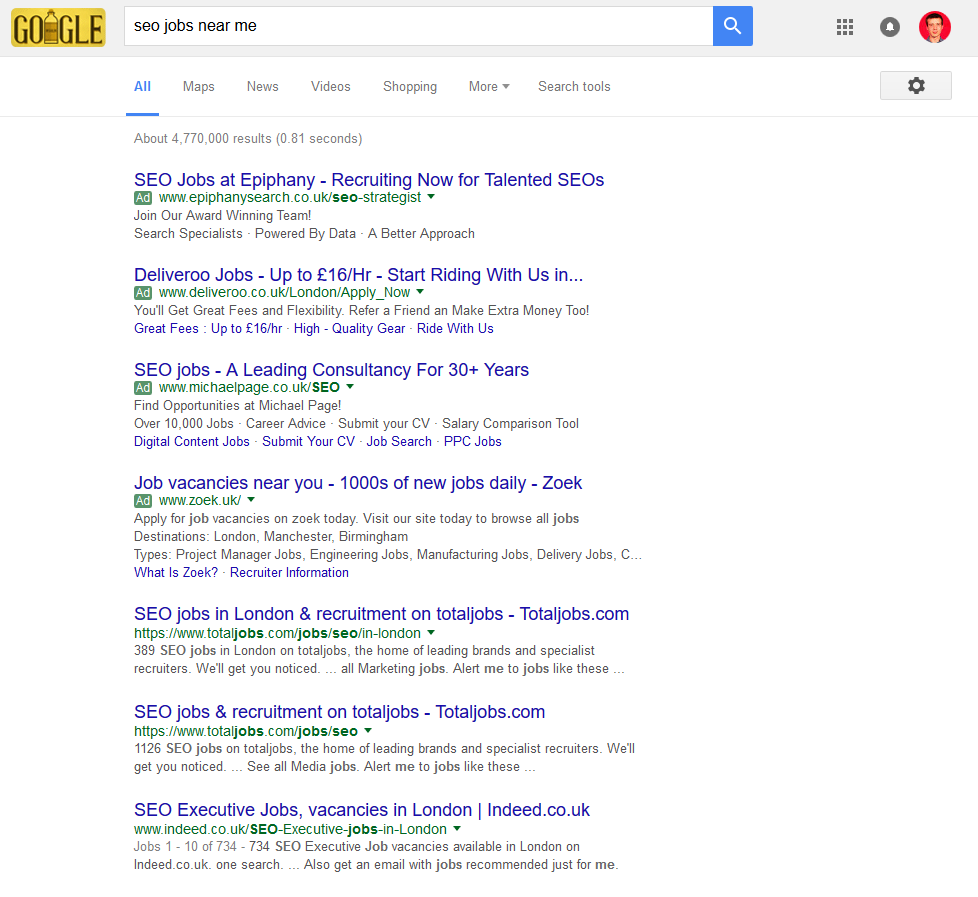 competing for local queries no physical premises moz firstly this is a near me search no local pack the second very noticeable thing is that after the four ppc ads totaljobs com are ranking both