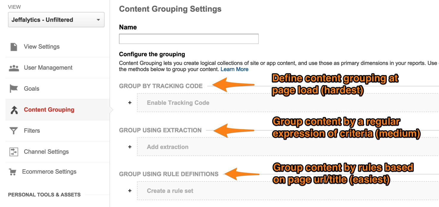 Content Grouping Options