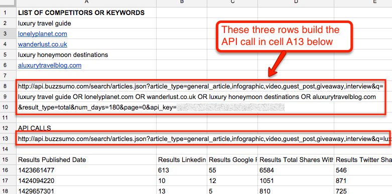 building buzzsumo api call in google docs