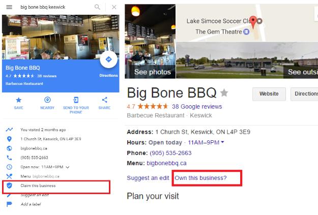 Unverified Google My Business Listing