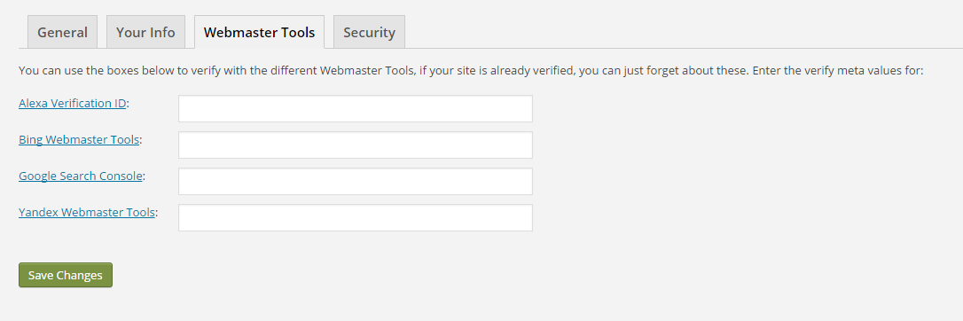 Where you can verify your site's webmaster tools in Yoast settings