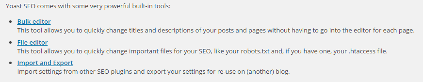 The built-in tools for Yoast SEO: Bulk Editor, File Editor, and Import and Export.