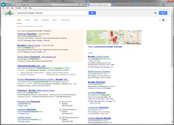 "Screenshot of Google Local Search Results for ""preschools boulder Colorado"":"