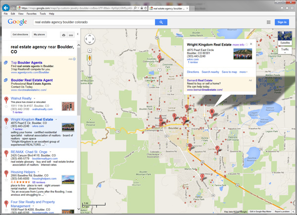 Screenshot of Google Local Search Results for real estate agency boulder co - Google Business Photos Study