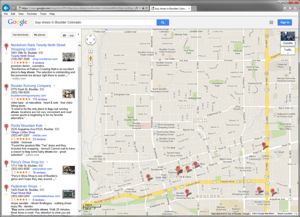 "Screenshot of Google Local Search Results for ""buy shoes in Boulder Colorado"""