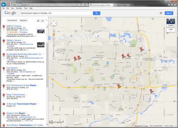Screenshot of Google Local Search Results for transmission repair Greeley Colorado