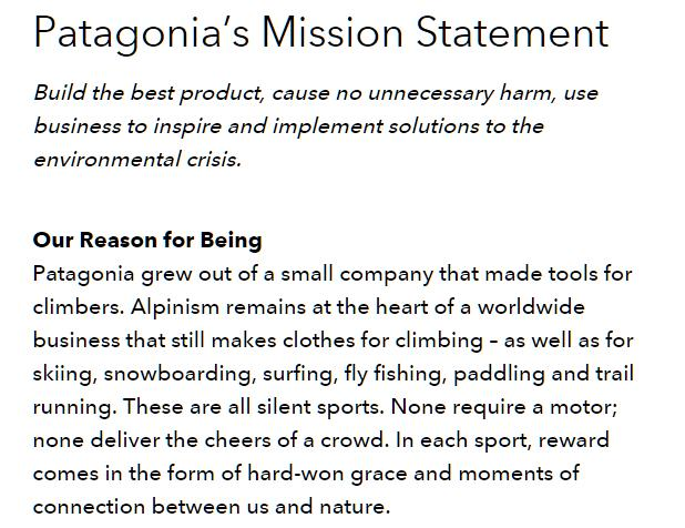 pantagonia-mission-statement