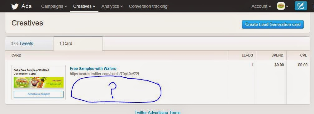 Card Tracking Panel in Twitter Ads