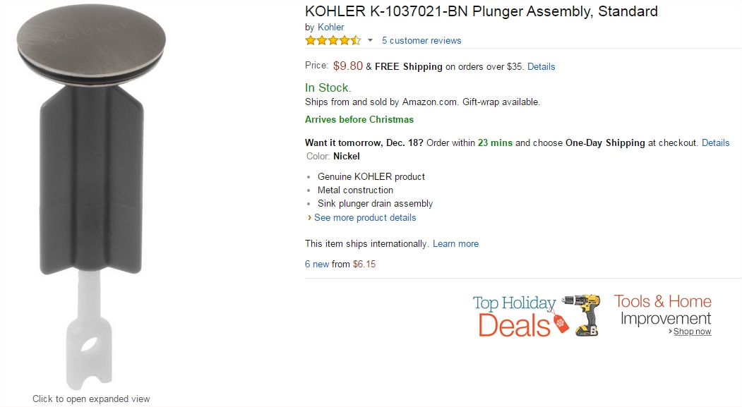 Nice Kohler store sink stopper on Amazon