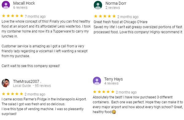 Multiple positive five-star Yelp reviews praising existing kiosks
