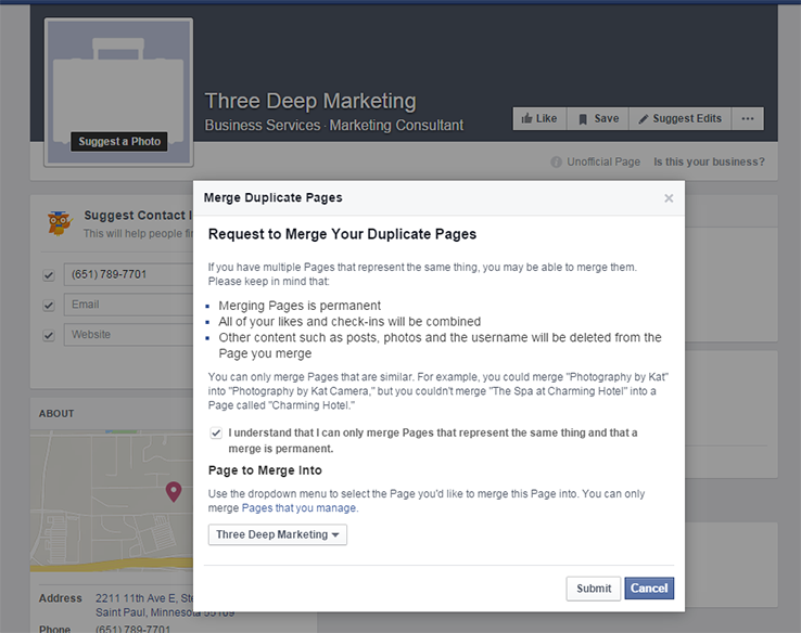 merging FB pages