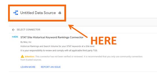 Relatório de alterações de classificação com conectores do Google Data Studio da STAT 2