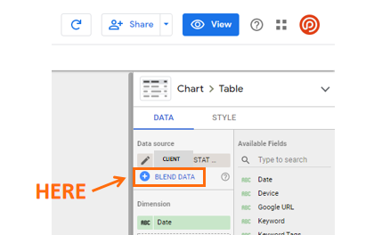 Relatório de alterações de classificação com conectores do Google Data Studio da STAT 4