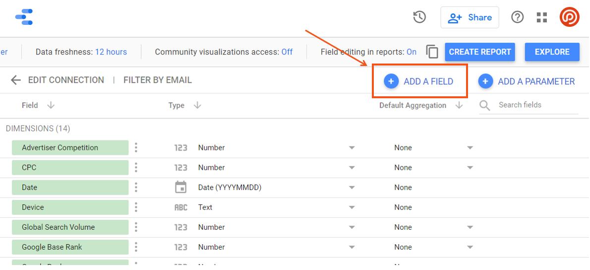 Relatório de alterações de classificação com conectores do Google Data Studio da STAT 12