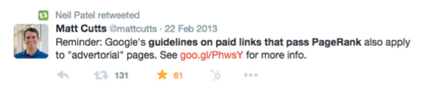 Matt Cutts paid links tweet
