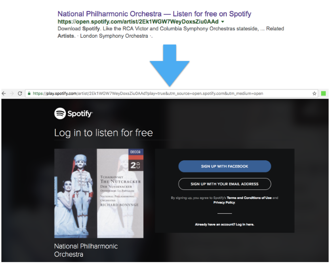 Spotify shows a login page to <a href=