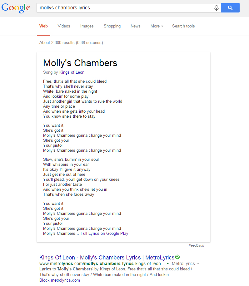 band-provided lyric content in serps