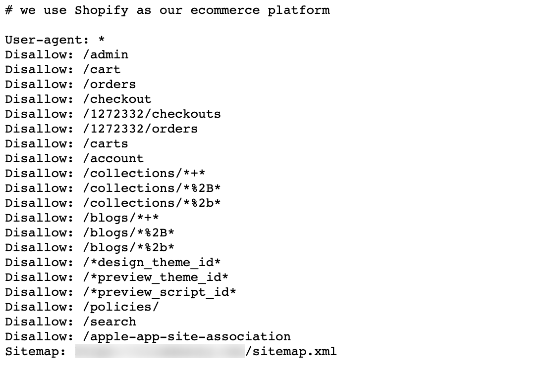 Shopify中的robots.txt文件示例