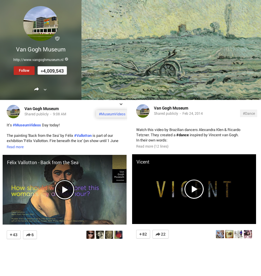 Van Gogh Museum Google Plus Page Screenshot