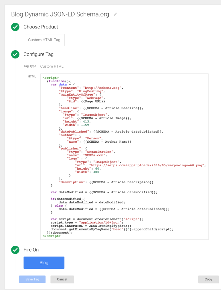 Using Google Tag Manager to Dynamically Generate Schema/JSON