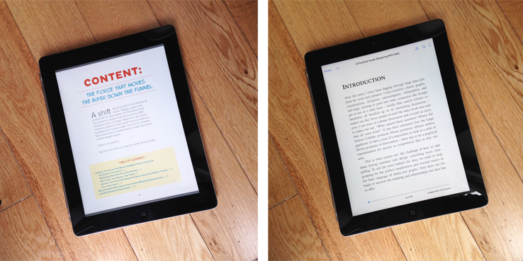 a side by side photo of a traditional ebook and a marketing ebook